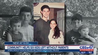 Community rallies around six children who lost both parents in a crash involving a logging truck