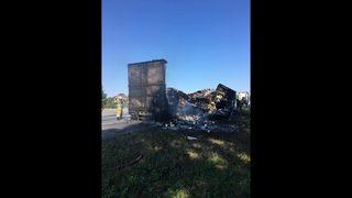 Photos: Semitruck full of orange juice burns on I-95 in Nassau County