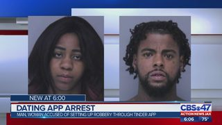 Man, woman accused of setting up robbery through Tinder app