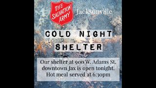 Salvation Army opening a cold night shelter in Jacksonville
