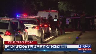 Officer shoots suspect, 2 more on the run