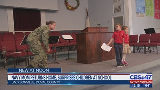 Navy mom returns home, surprises children at school