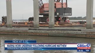 Marina work underway in Fernandina Beach following Hurricane Matthew