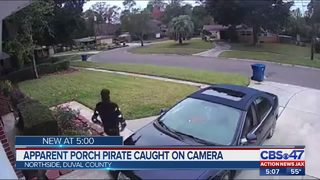 Porch pirate caught on camera in Jacksonville