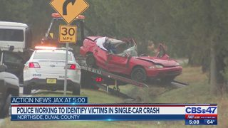Police working to identify victims in single-car crash