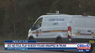 JSO: No foul play in body found wrapped in trunk in North Jacksonville