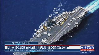 USS Saratoga memorial name plate returns to Naval Station Mayport