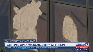 Gas line, windows damaged by implosion