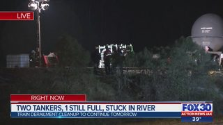 Two tankers, 1 still full, stuck in river