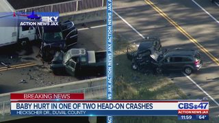 Baby hurt in one of two deadly, head-on crashes in Jacksonville area