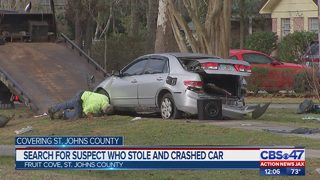 Search for suspect who stole, crashed car