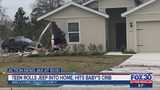 Teen rolls jeep into home hits baby crib