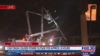 Arlington car crash causes power outage