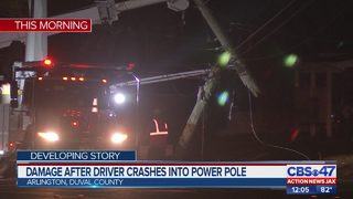 Damage after driver crashes into power pole