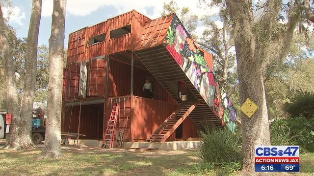 St  Augustine artist builds shipping container home after