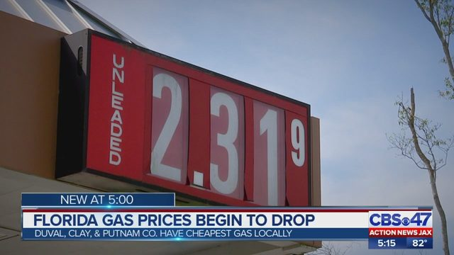 Gas Prices In Florida >> Jacksonville Area Gas Prices At The Pump Dropping In Northeast