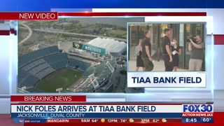 Nick Foles arrives at TIAA Bank Field