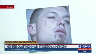 High-speed chase through busy intersections, construction