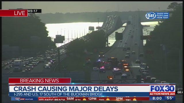 CRASH NEAR BUCKMAN BRIDGE: JFRD: Fiery crash on I-295 near