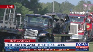 Semitruck and van catch fire, block traffic on I-295 near Buckman Bridge