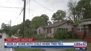 Mom at home with child when tree fell in Northwest Jacksonville