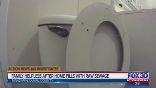 Family helpless after home filled with raw sewage
