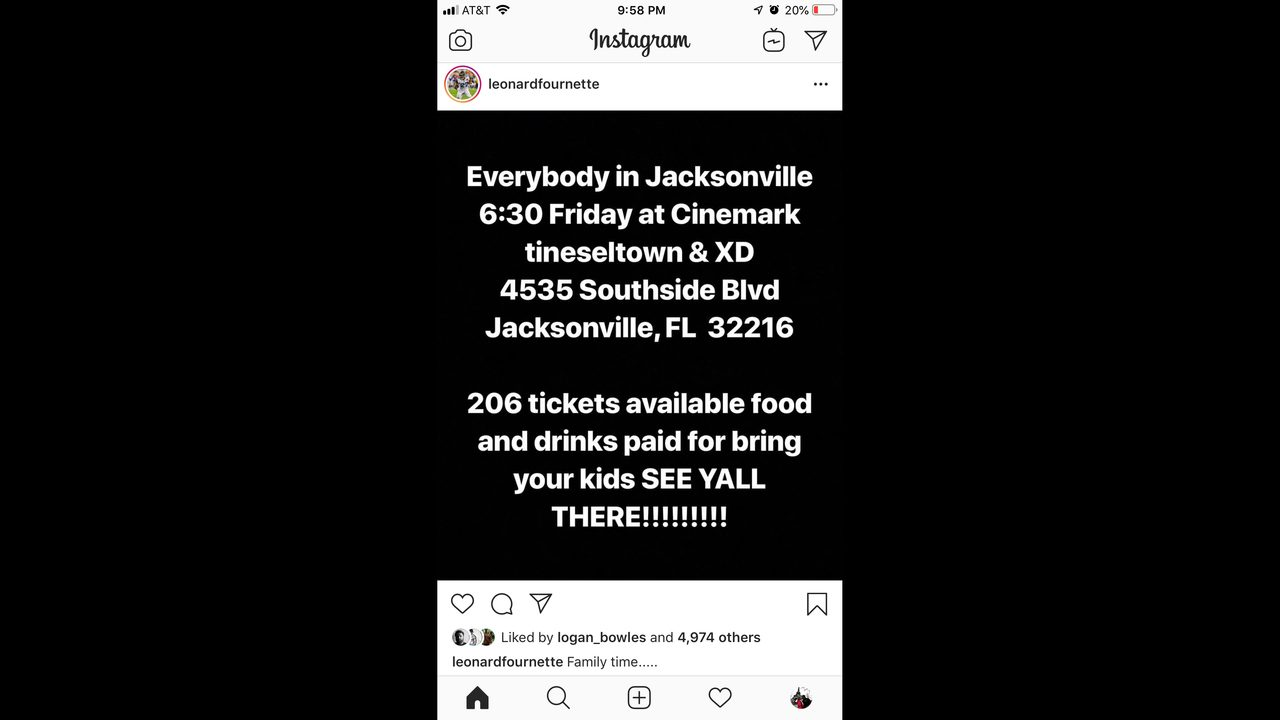 Leonard Fournette buying movie tickets for 100 lucky Jacksonville