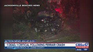 1 dead, 1 recovering in Ferrari crash in Ponte Vedra Beach