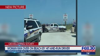 Woman ran over on beach by hit-and-run driver