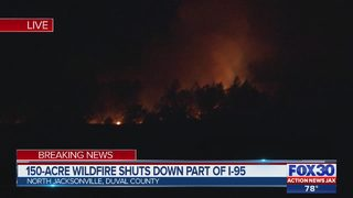 150-acre wildfire causes I-95 lane closure