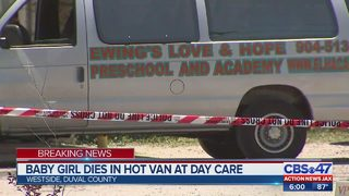 Baby girl dies in hot van at day care in Jacksonville