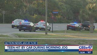 Teen hit by car during morning jog