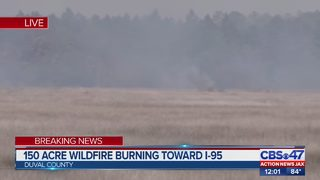 150 acre wildfire burning toward I-95