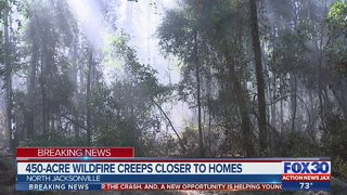 450-acre wildfire creeps closer to homes