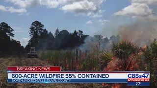 600-acre wildfire 55% contained