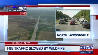 Interstate 95 traffic slowed by wildfire