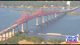 Overturned vehicle on Mathews Bridge causes heavy traffic delays