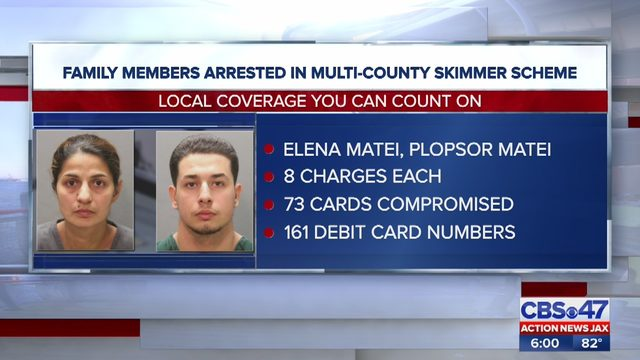 Two suspects arrested by JSO in connection to a multi-state skimming ring