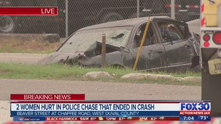 Two women hurt in police chase that ended in crash