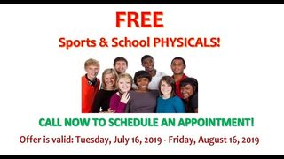 FREE sports and school physicals offered at three Coastal Community Health Services locations