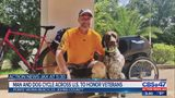 Man and dog cycle across U.S. to honor veterans