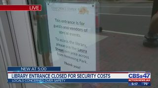 Library entrance closed for security costs