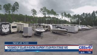 Thousands of dollars in boating equipment stolen from storage yard