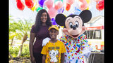 Mickey Mouse makes a surprise appearance at seven-year-old Jermaine Bell's birthday party.