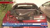 Commercial truck slams car in East Arlington neighborhood