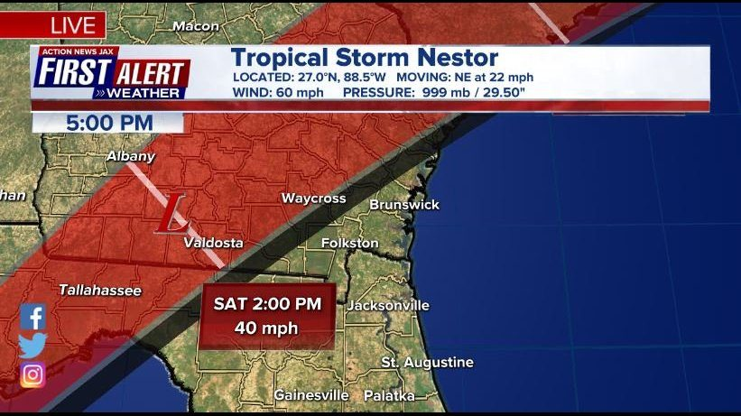 Tropical Storm Nestor Jacksonville: First Alert Weather: Tropical Storm Nestor in the Gulf to pour on a part of your weekend